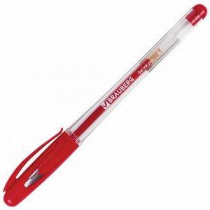 """Ручка гелевая с грипом BRAUBERG """"Geller"""", КРАСНАЯ, игольчатый узел 0,5 мм, линия письма 0,35 мм, 141181"""