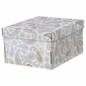 SMEKA СМЕКА | Коробка с крышкой, серый/с рисунком | 26x32x17 см