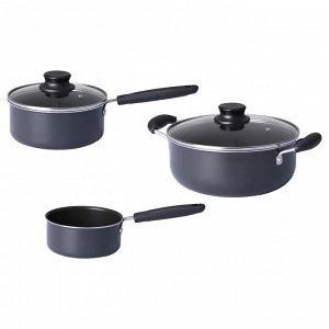 KVALLSVARD КВЭЛЛЬСВАРД | Набор кухонной посуды, 3 предметa, серый