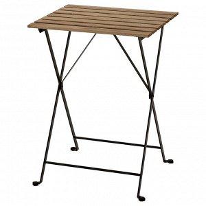 TARNO ТЭРНО | Садовый стол, черный/светло-коричневая морилка | 55x54 см