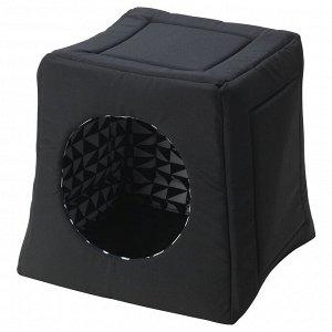 LURVIG ЛУРВИГ   Кроватка/домик д/кошки, черный/белый   38x38x37 см