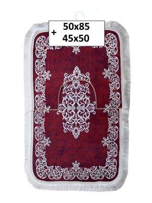 Набор ковриков 2-х пр. с бахромой для ванны туалета в ассортименте (50*85/45*50) бордовый с узорами