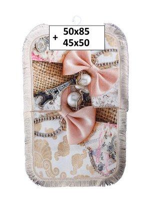 Набор ковриков 2-х пр. с бахромой для ванны туалета в ассортименте (50*85/45*50) бантик