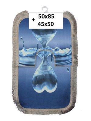 Набор ковриков 2-х пр. с бахромой для ванны туалета в ассортименте (50*85/45*50) капля