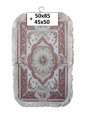 Набор ковриков 2-х пр. с бахромой для ванны туалета в ассортименте (50*85/45*50) розовый с обводками