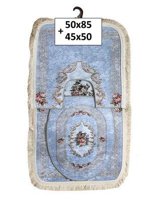 Набор ковриков 2-х пр. с бахромой для ванны туалета в ассортименте (50*85/45*50) розы голубой