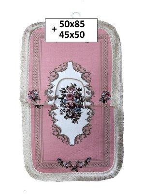 Набор ковриков 2-х пр. с бахромой для ванны туалета в ассортименте (50*85/45*50) розы розовый