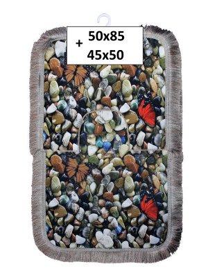 Набор ковриков 2-х пр. с бахромой для ванны туалета в ассортименте (50*85/45*50) камни