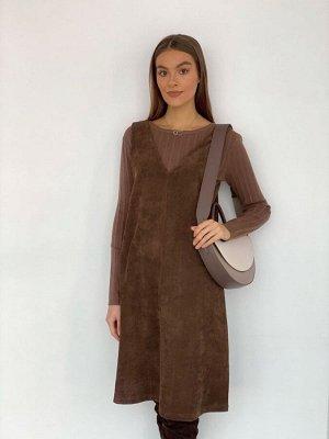 S3486 Сарафан вельветовый коричневый