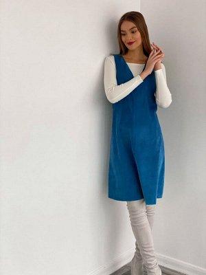 S3489 Сарафан вельветовый ярко-голубой