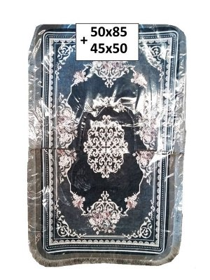 Набор ковриков 2-х пр. с бахромой для ванны туалета в ассортименте (50*85/45*50)темно зелен с узорам