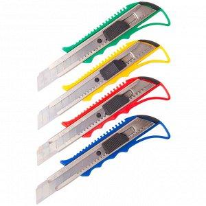 Нож канцелярский 18мм OfficeSpace, усиленный, с фиксатором, металл. направляющие, ассорти, европодвес