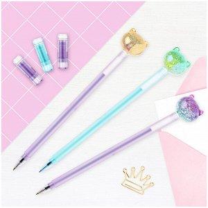 "Ручка шариковая MESHU ""Cute Cats"" синяя, 0,7мм, перламутр, софтач, ассорти"