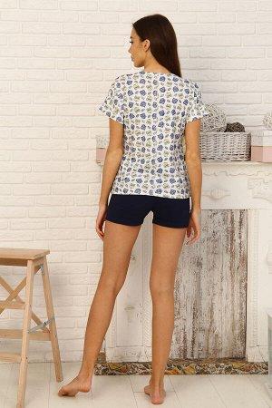 Пижама Бренд Натали. Ткань: кулирка  Состав: 100 % хлопок  Пижама футболка свободного кроя со спущенным плечом на манжете. Шорты на резинке