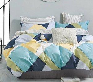 Комплект из сатина 2 спальный с простыней на резинке
