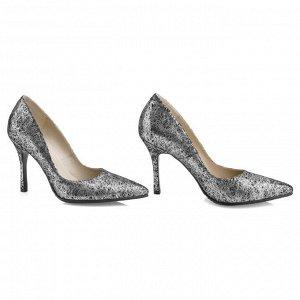 Туфли женские на шпильке. Модель 2382 эк серебряная паутина