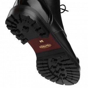 Ботинки берцы на низком каблуке. Модель 3221 б эк кожа+лак (демисезон)