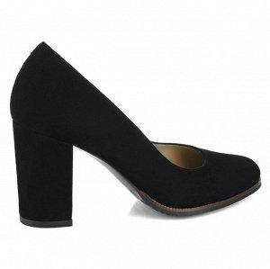 Замшевые туфли на устойчивом каблуке. Модель 2371 замша