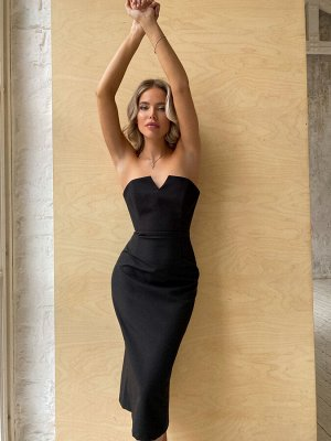 Платье-футляр из костюмной ткани с корсетным верхом NEW