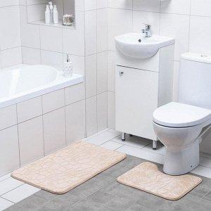 Набор ковриков для ванны и туалета Доляна «Галька, ракушки», 2 шт: 39?40, 50?80 см, цвет бежевый