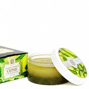 Сахарно-соляной скраб для тела «Зелёный чай и Алоэ» Дом Природы 300 г