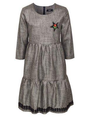 Платье с люрексом для девочки  Цвет:серый