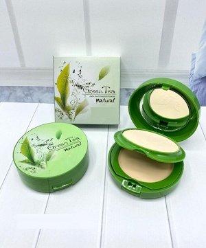 Двойная Пудра+консилер для лица с экстрактом зеленого чая