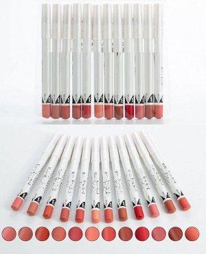 Набор нюдовых карандашей для губ 12шт