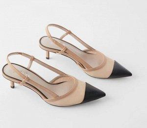 Туфли женские, цвет нюд + черный