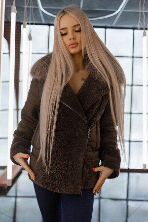 Стеганая куртка-косуха астраган/песец