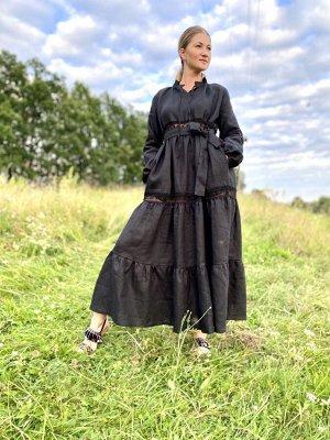 Платье Платье Pavlova 059  Состав: Лён-100%; Сезон: Лето Рост: 164  Многоярусное платье с кружевными вставками. Длина 7/8 .