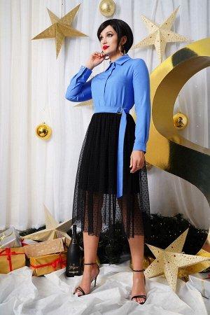 Платье Платье LYUSHe 2526  Состав ткани:Платье: Вискоза-42%; ПЭ-5%; Нейлон-53%; Подкладка: ПЭ-100%;  Рост: 164 см.  Платье женское, полуприлегающего силуэта. Воротник рубашечного типа на притачной ст
