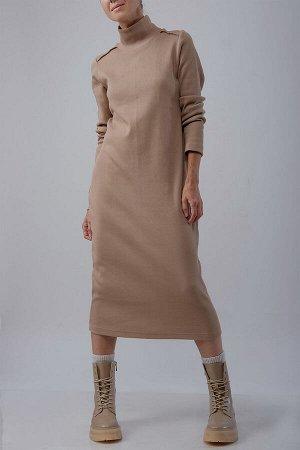 Платье Платье NUDE 0017 бежевый  Состав ткани: Хлопок-95%; Эластан-5%;  Рост: 170 см.  Удлиненное платье-свитер в бежевом цвете. Платье выполнено из хлопкового трикотажа в рубчик.Свободный крой, прос