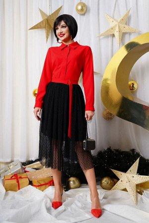 Платье Платье LYUSHe 2527  Состав ткани:Платье: Вискоза-42%; ПЭ-5%; Нейлон-53%; Подкладка: ПЭ-100%;  Рост: 164 см.  Платье женское, полуприлегающего силуэта. Воротник рубашечного типа на притачной ст