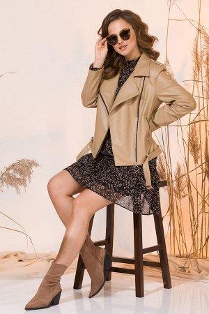 Куртка Куртка INPOINT 019 нюдовый беж  Сезон: Весна Рост: 170  Эффектная куртка косуха в стиле casual, выполнена из эко-кожи: изнанка на хлопковой основе. Модель нюдового бежевого оттенка с двубортно