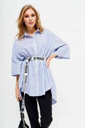 Рубашка Рубашка LYUSHe 2555  Состав ткани: ПЭ-24%; Спандекс-2%; Хлопок-74%;  Рост: 164 см.  Женская рубашка, свободного силуэта, с фигурным низом. Воротник рубашечного типа на притачной стойке. Перед