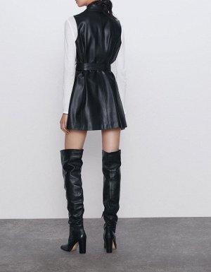 Женское двубортное платье-жилет из искусственной кожи, с карманами на поясе