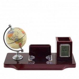 Настольный набор (глобус, часы, карандашница, визитница), L35,5 W18 H20 см