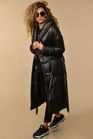 Пальто Пальто Сч@стье 7144 черный  Состав ткани: ПЭ-100%;  Рост: 170 см.  Пальто женское свободного силуэта на синтепеоне. Застежка центральная на кнопки. Плечо спущенное, на полочек накладные карман