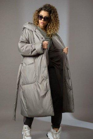Пальто Пальто Сч@стье 7144-П серо-оливковый  Состав ткани: ПЭ-100%;  Рост: 170 см.  Пальто женское свободного силуэта на синтепоне. Застежка центральная на кнопки. Плечо спущенное, на полочек накладн