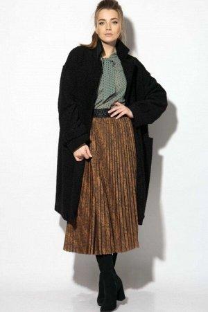 Пальто Пальто SOVA 11112 черный  Состав ткани:Пальто: ПЭ-100%; Подкладка: Вискоза-50%; ПЭ-50%;  Рост: 164 см.  Стильное демисезонное пальто из искусственного меха под каракуль. Пальто оверсайз. Свобо