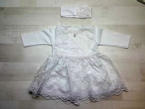 Платье кружевное с повязкой белое