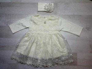 Платье кружевное с повязкой бежевое