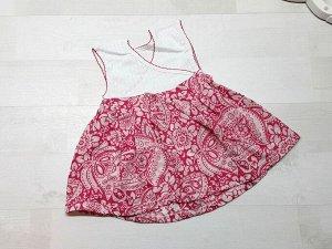 Комбинированное платье-сарафан розовое
