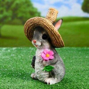 """Садовая фигура """"Зайка в соломенной шляпе с цветочком"""" 12х13х21,5см"""