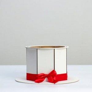 """Кашпо деревянное, 24.5?24.5?12.5 см, подарочное уникальное """"Шляпа"""", белое"""