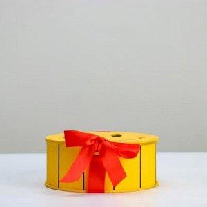 """Кашпо деревянное, 19?19?8 см, подарочное уникальное """"Улыбающийся смайлик"""", жёлтое"""