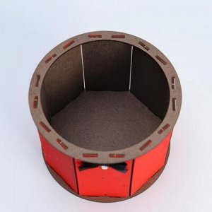 """Кашпо деревянное, 17?17?13 см, подарочное уникальное """"Ретро, цилиндрическое"""", красное"""