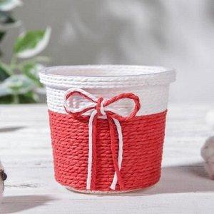 Кашпо плетеное «Бантик» 10,5?10,5?9 см, круг, цвет МИКС