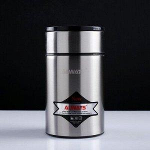 """Термос для еды """"Always"""", 800 мл, с ложкой, сохраняет тепло 12 ч, микс, 18х10.5 см"""